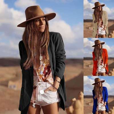Fashion Long sleeve Pure Lapel Blazer