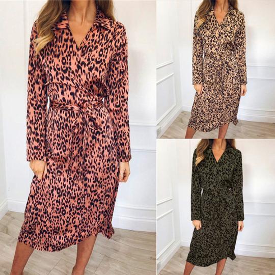 Stylish Lapel Long Sleeved Print Dress