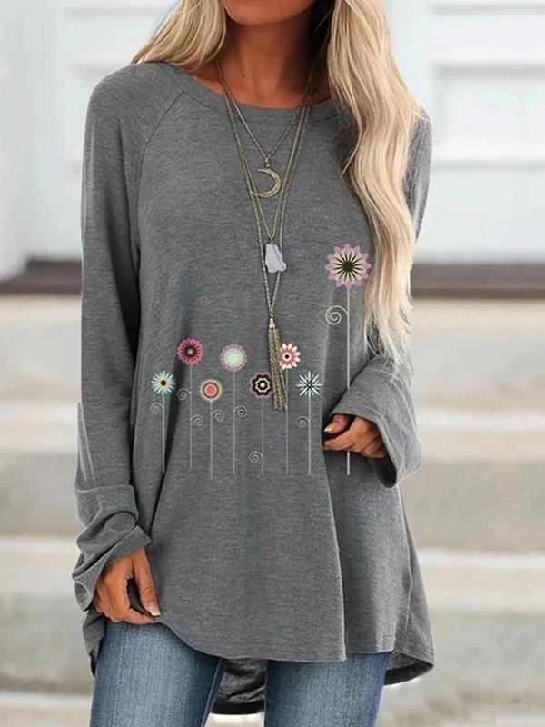 Women casual daily long sleeve printed T-shirts