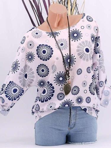 Floral Loose Batwing sleeve T-Shirts