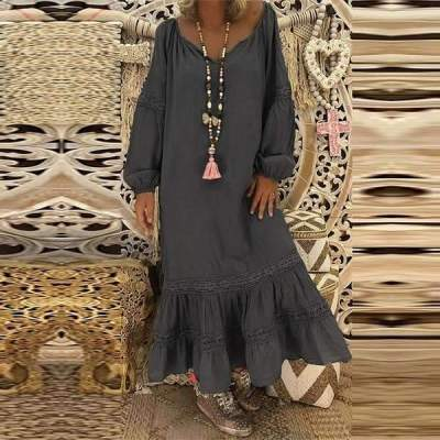 Loose Round neck Long sleeve Maxi Dresses