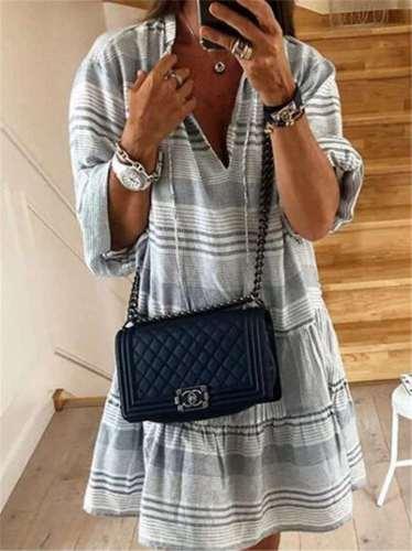 Fashion V neck Stripe Long sleeve Shift Dresses