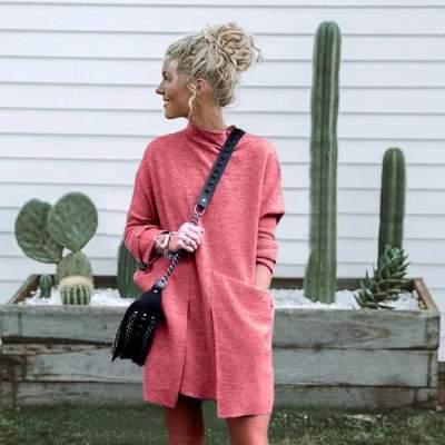 Fashion Pure Round neck Long sleeve Pocket Shift Dresses
