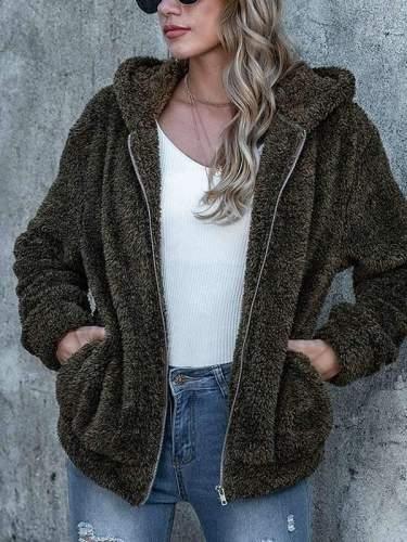 Stylish Zipper Women pocket plain long sleeve hoodied coats