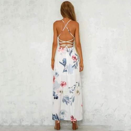 Fashion Print V neck Lacing Vent Sleeveless Backless Maxi Dresses