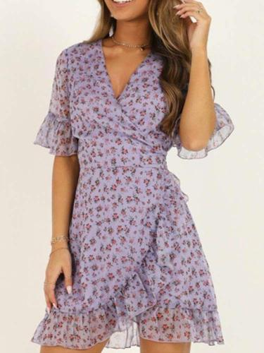 Fashion Print V neck Short sleeve Falbala Skater Dresses