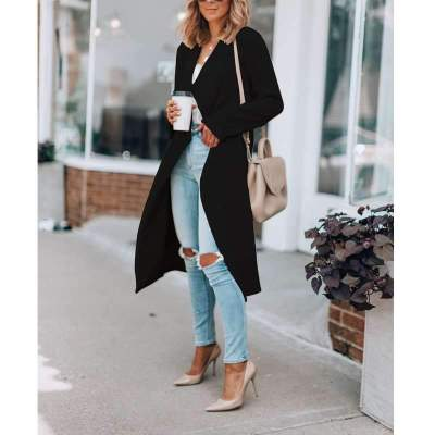 Casual Loose Pure Lapel Long sleeve Trench Coats