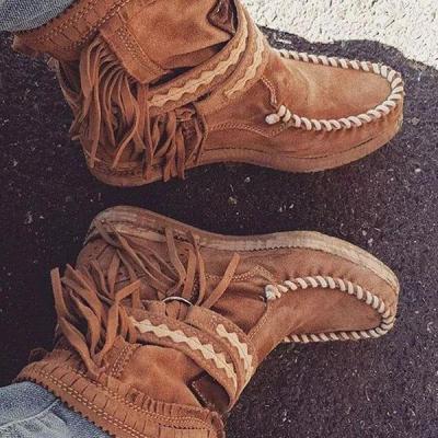 Round Toe suede tassels boots