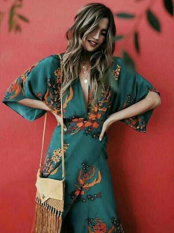 V-neck slit fashion floral printed maxi dresses