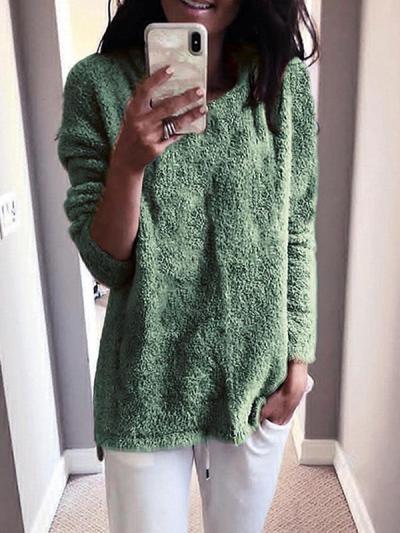 Warm plsin round neck long sleeve soft sweaters tops