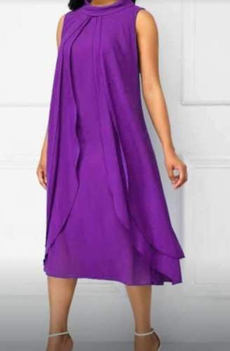 Casual Loose Pure Stand collar Sleeveless Maxi Dresses
