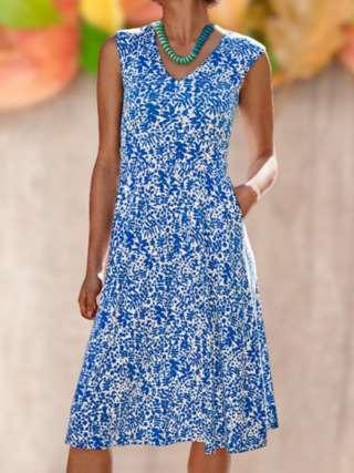 Fashion Print V neck Sleeveless Pocket Skater Dresses