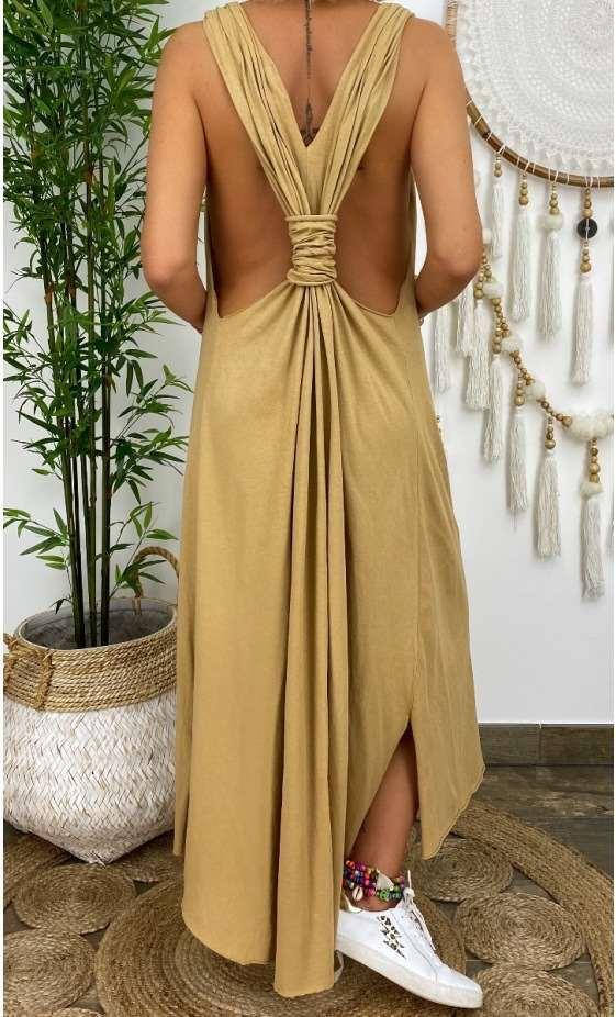 Fashion Pure Vest Backless Sleeveless Maxi Dresses