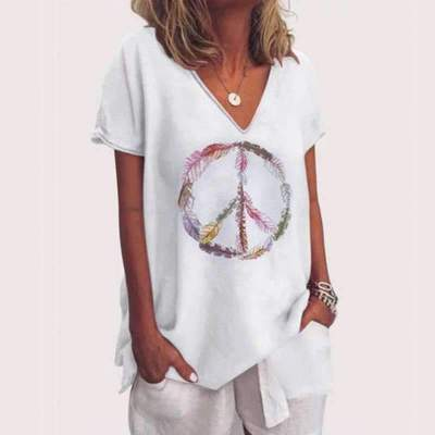 Casual Loose Print V neck Short sleeve T-Shirts