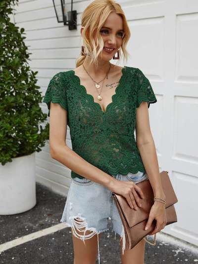 Sexy Pure Lace Hollow out V neck Short sleeve T-Shirts