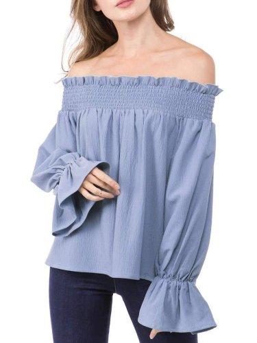 Fashion Stripe Off shoulder Falbala T-Shirts