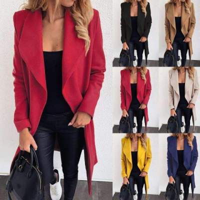 Fashion Pure Lapel Long sleeve Lacing Woolen Trench Coats