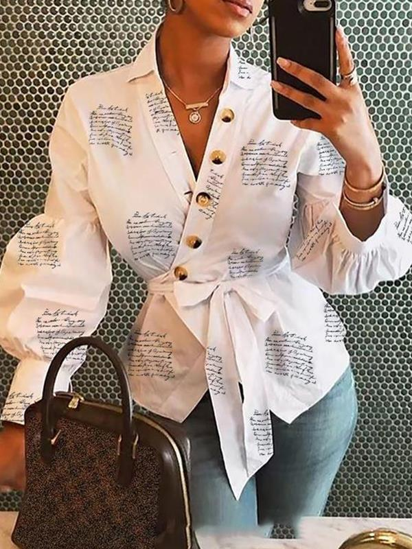 Fashion printed v neck tie waist blouses