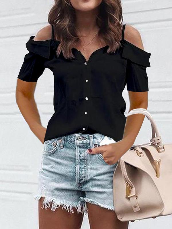 Casual fashion off shoulder strap short sleeve T-shirts