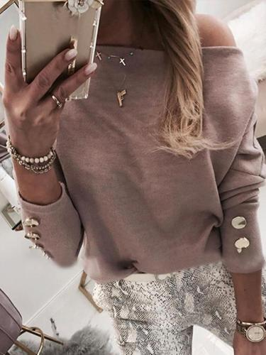 Batwing Long Sleeve Buttoned Blouses