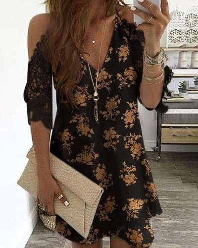 Fashion Print V neck Lace Off shoulder Short sleeve Shift Dresses