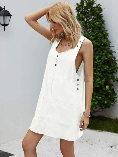 Fashion Casual Pure Round neck Sleeveless Fastener Shift Dresses