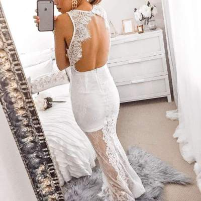 Sexy Lace V neck Backless Grenadine Fishtail Evening Dresses