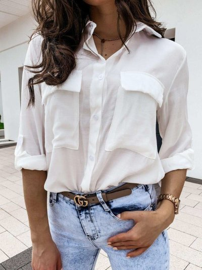 Fashion Pure Lapel Long sleeve Pocket Blouses