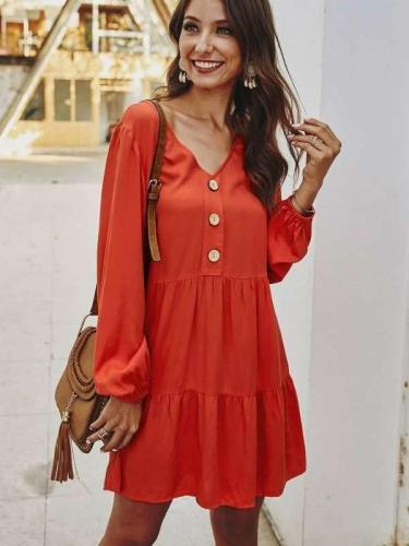 Fashion Casual V neck Long sleeve Fastener Shift Dresses