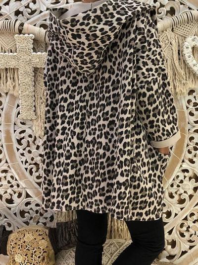 Fashion Leopard Print Hooded Woman Coats