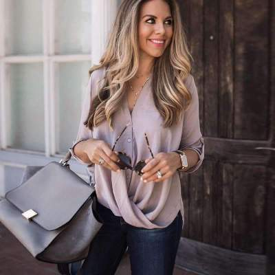 Casual V neck Long sleeve T-Shirts