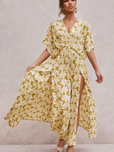 Fashion Print V neck Vent Short sleeve Skater Dresses