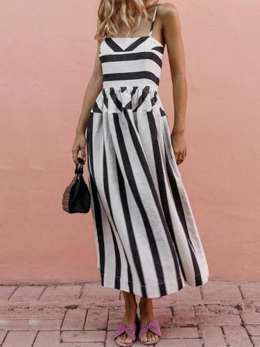 Sling Stripe Printed Casual Street Maxi Dress