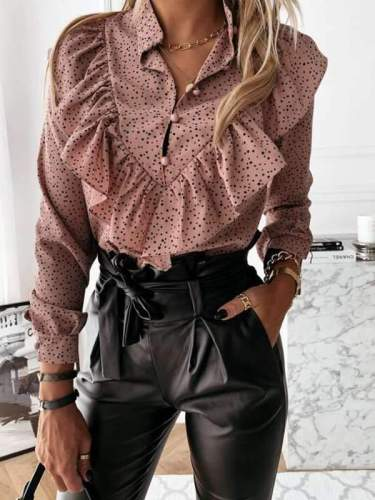 Leopard Printed long sleeve flounces chic blouses