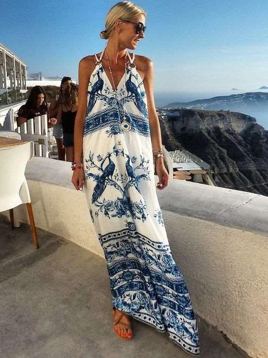 Casual Loose Print V neck Vest Sleeveless Maxi Dresses