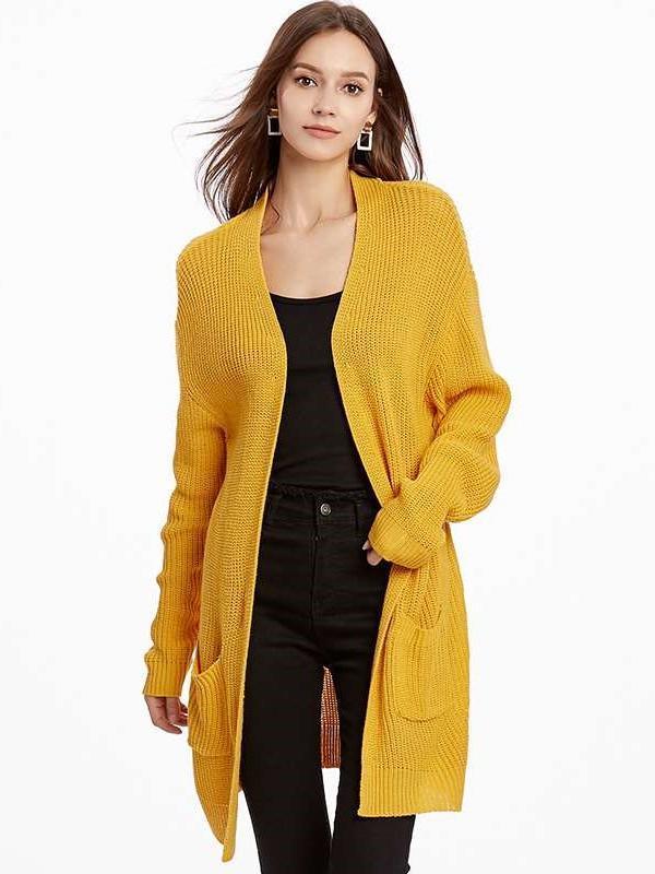 Plus Loose Knit Pocket Long sleeve Cardigan