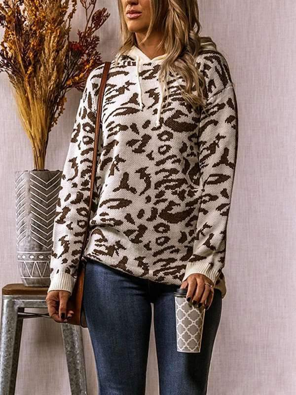Leopard printed fashion hooded long sleeve sweaters