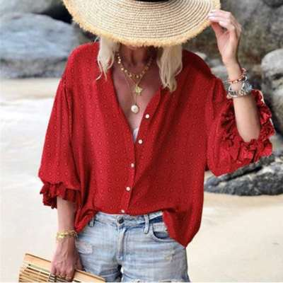 Loose Point print Long sleeve Blouses