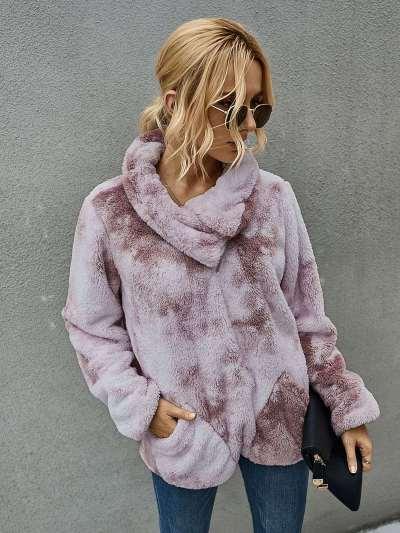 Fashion Casual Plush Plangi Lapel Long sleeve Sweatshirts