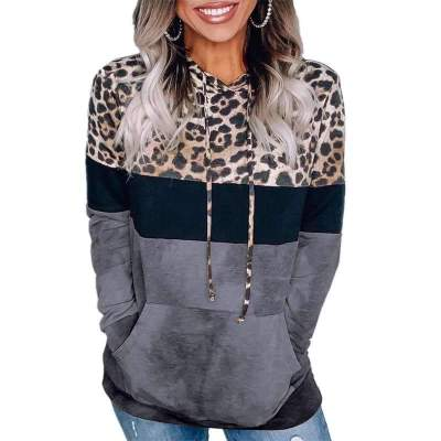 Fashion Leopard print Gored Long sleeve Hoodies Sweatshirts