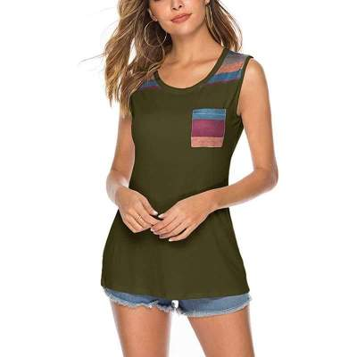 Fashion Round neck Sleeveless Stripe T-Shirts