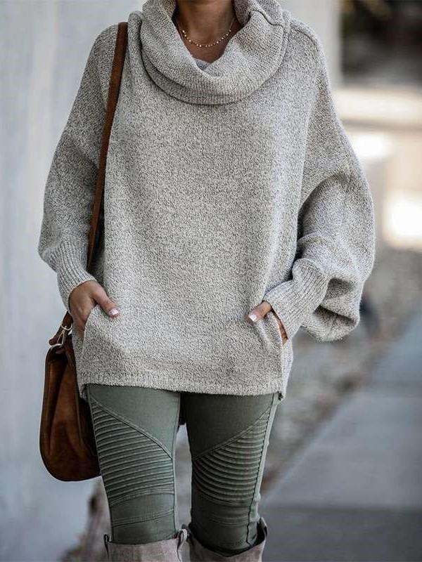 Fashion Casual Pure Pile collar Long sleeve Sweatshirts