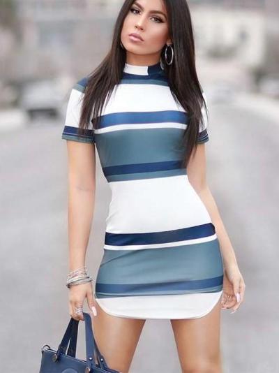 Fashion Stripe Short sleeve Bodycon Dresses