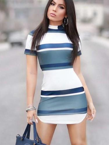 Fashion Stripe Short sleeve Bodycon Dresses