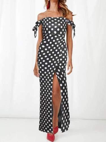 Off Shoulder Women Long Wave Dot Pot Maxi Sexy Dresses