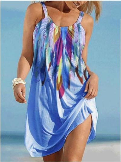 Casual Print Round neck Vest Vacation Dresses