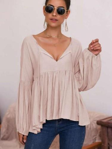 Fashion Pure V neck Puff sleeve T-Shirts