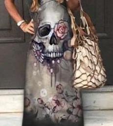 Fashion Casual Print V neck Short sleeve Maxi Dresses