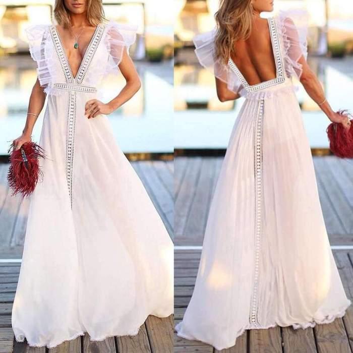 Sexy V neck Backless Evening Dresses