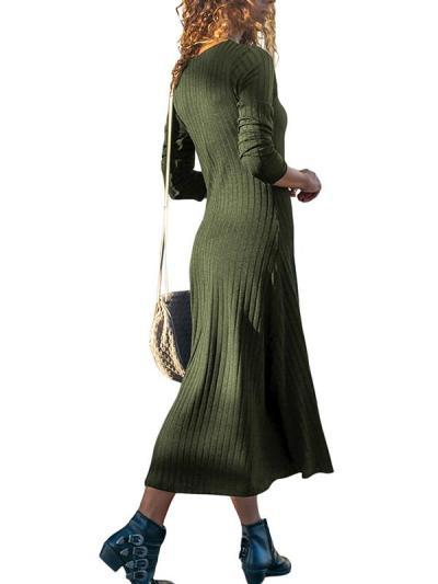 V-Neck Long Sleeve Plain Knit Woman Maxi Dress